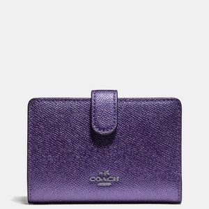 Coach Medium Wallet Metallic Periwinkle
